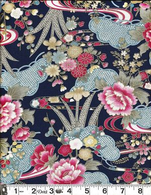 BEAUTIFUL FLORAL LANDSCAPE: Navy Blue