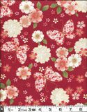 Butterflies & Cherry Blossoms with Gold Metallic: Red- 100% Cotton Embossed Crepe