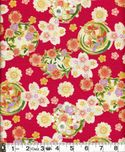 Flower Balls with Gold Metallic : Red 100% Embossed Cotton Crepe