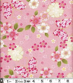 Butterflies & Cherry Blossoms with Gold Metallic: Pink Japanese Cotton Crepe