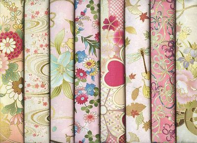8 Pink Japanese Asian Fat Quarter Collection - 2 Yards Total