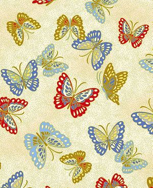 COLORFUL BUTTERFLIES: Cream