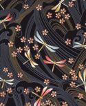 DRAGONFLIES & FLOATING CHERRY BLOSSOMS: Black