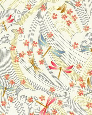 DRAGONFLIES & FLOATING CHERRY BLOSSOMS: Cream