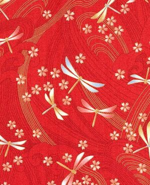 DRAGONFLIES & FLOATING CHERRY BLOSSOMS: Red