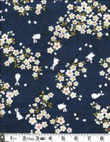 BUNNIES IN CHERRY BLOSSOM LANDSCAPE - Navy Blue