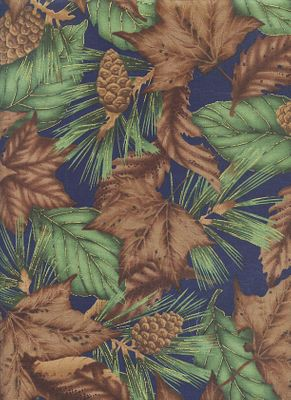 OUTDOOR SPLENDOR: Fall Leaves & Pinecones - Navy Blue