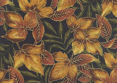 OUTDOOR SPLENDOR: Maple Leaves - Brown/Gold Metallic