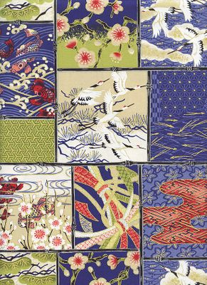 PATCHWORK OF ASIAN DESIGNS: Navy Blue