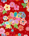 SAKURA - STYLIZED BLOSSOMS: Red (1/2 YD)