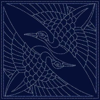 NEW! SASHIKO PANEL: Two Cranes