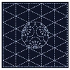 SASHIKO - Plum Blossoms & Diamonds -- Navy Blue