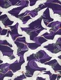 SOARING CRANES: Purple - Cotton Dobby