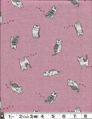 STRIPED KITTENS - Pink Cotton/Linen Fabric