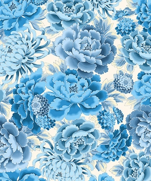 STUNNING IMPERIAL FLORALS: Blue/Silver Metallic