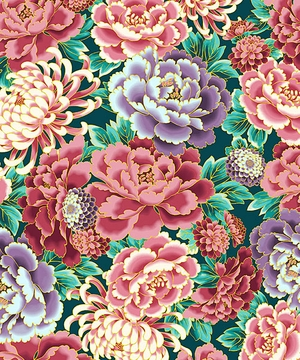 STUNNING IMPERIAL FLORALS: Teal/Gold Metallic