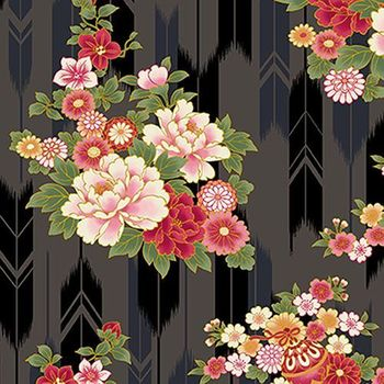 SUZUNE: Bouquets & Arrow Feathers - Black with Gold Metallic