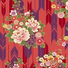 SUZUNE: Bouquets & Arrow Feathers - Red w/ Gold Metallic