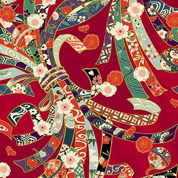 SUZUNE: Noshi Ribbons - Red with Gold Metallic