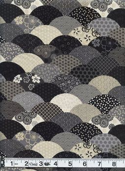 Waves of Japanese Designs - Black, Gray, Cream