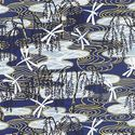 WEEPING WILLOW & DRAGONFLIES: Blue with Gold Metallic
