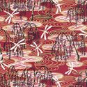 WEEPING WILLOW & DRAGONFLIES: Red with Gold Metallic