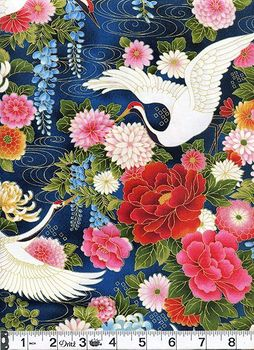 WIND SONG - Majestic Cranes Over Floral Garden: Navy - BTY