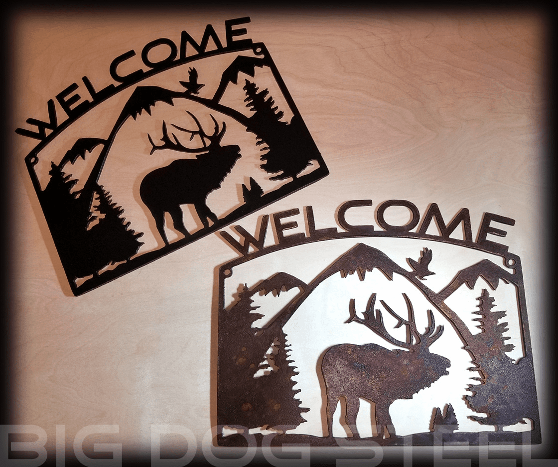 Rustic Elk Metal Wall Panel