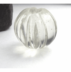 15mm x 16mm Rare Old Gorgeous Clear Melon Antique Glass Bead