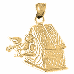 10K, 14K or 18K Gold Bird House Pendant