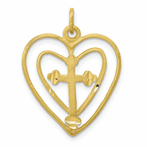 10K Cross Indiana Heart Charm