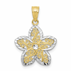 10K & Rhodium Filigree Flower Charm