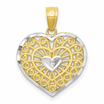 10K & Rhodium Heart Charm
