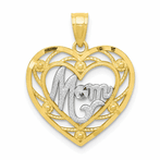 10K & Rhodium Mom Heart Charm