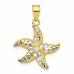 10K & Rhodium Starfish Charm