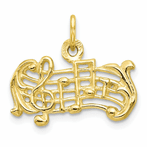 10K Solid Musical Scale Charm