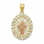 10K Two-Tone CZ Cross Pendant