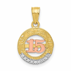 10K Two-Tone & White Rhodium CZ 15 Round Pendant