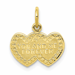 10K You & Me Forever Heart Charm
