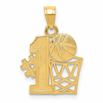 14K #1 Basketball Story With Hoop Pendant