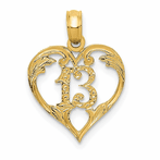 14K 13 Indiana Heart Cut-Out Pendant