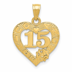 14K 15 Indiana Quince Anos Heart Frame Pendant
