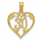 14K 30 Indiana Heart Cut-Out Pendant