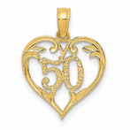 14K 50 Indiana Heart Cut-Out Pendant
