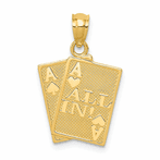 14K Ace Of Hearts & Ace Of Spade All In! Cards Pendant