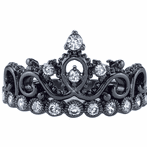 14K Black Gold CZ Princess Crown Ring