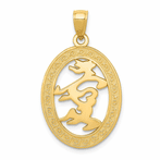 14K Chinese Happiness Symbol Indiana Oval Frame Pendant