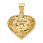 14K Fancy Heart Charm