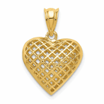 14K Fancy Mesh Heart Charm