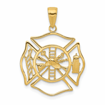 14K Fireman Shield Pendant